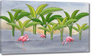 Фламинго под пальмами