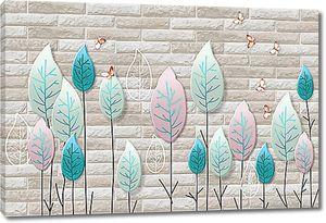 Стилизованные деревья на кирпичной стене