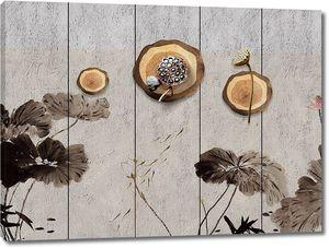 Лотосы акварелью на панелях