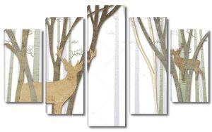 Вырезанные из бумаги  лес и олени