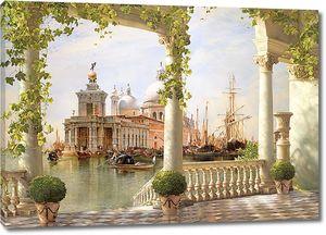 Солнечная терраса с видом на архитектуру Венеции