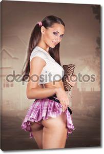 Сексуальная школьница, держащий книгу и отмены ее юбка показаны, но