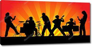 Силуэты шести музыкантов