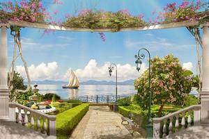 Вид с набережной на море и корабль