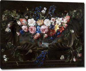 Арельяно Хуан де. Гирлянда из цветов на картуше с пейзажем I