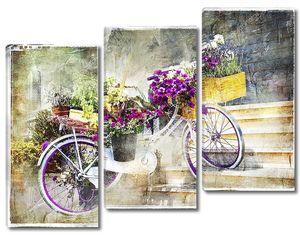 романтические открытки - цветочный велосипед, художественные работы в стиле живописи