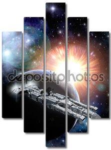 Космический корабль планеты и солнце