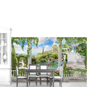 Большая терраса с колоннами и видом на сад
