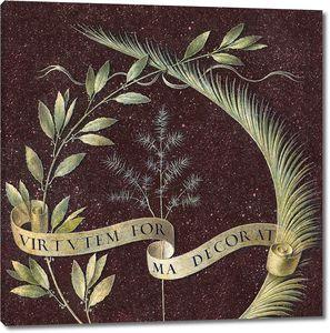 Леонардо да Винчи. Венок из лавра, пальмы и можжевельника со свитком