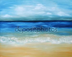 Актуальные теплое море и пляж. живопись маслом на холсте