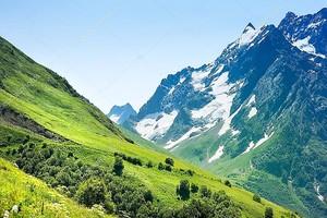 Вершины гор. Домбай,