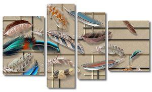 Яркие разноцветные перья разных размеров