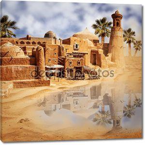 Старый город фэнтези и озеро в пустыне