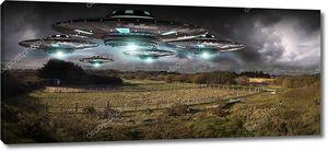 Вторжение НЛО на планету Земля Landascape 3D рендеринг