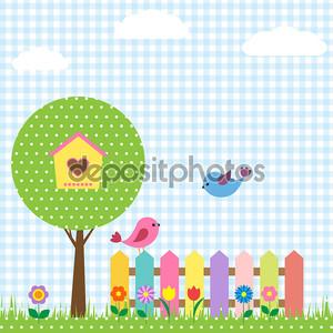 Скворечник на дерево и птицы