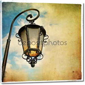Старый фонарь - картина в стиле ретро