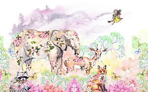 Животные расписанные цветами