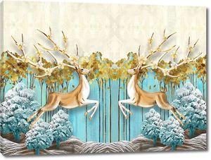 3d иллюстрация, синий и бежевый фон, синие сказочные деревья и высокие тонкие деревья с желтыми листьями, два зеркальных оленей с цветущие рога