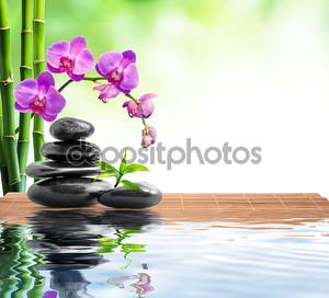Спа фон с бамбук, орхидеи и воды