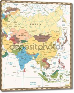 Старое ретро цветная карта Азии
