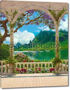 терраса с балюстрадой, выходящей на море и яхты