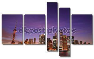Фиолетовая фантазия фон неба пейзаж города Шанхай