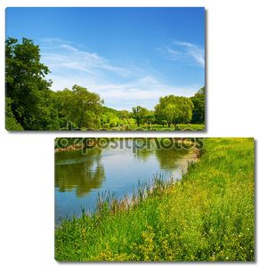 Летний пейзаж с отражением в реке