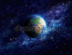 Планета Земля в космическом пространстве
