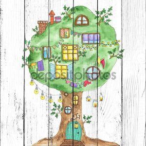 Акварель сказочный дуб дерево с windows, гирлянды, лампы, флаги.