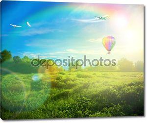 Красивый образ потрясающий закат с атмосферные облака и s