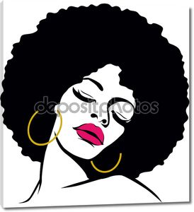 Афро волос хиппи женщина поп-арт