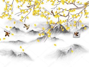 Ветка с желтыми цветами на фоне вершин