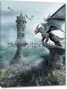 башня, охраняли драконы