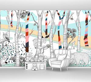 Woodland-звери в цветном лесу
