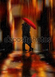 Центр города фэнтези любовь и романтика открытки или стены искусства иллюстрации