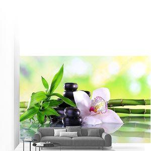 камни спа, бамбук ветвится и белая орхидея на столе на естественном фоне