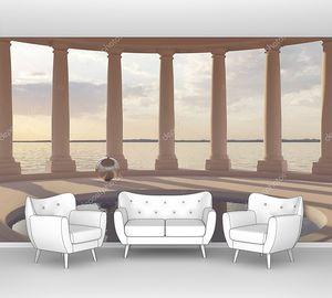 Бассейн в зале с колоннами и видами на море