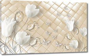 Тюльпаны на перламутровой плитке