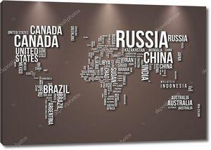 Карта мира с подсветкой сверху
