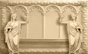 Античные скульптуры на фоне арок
