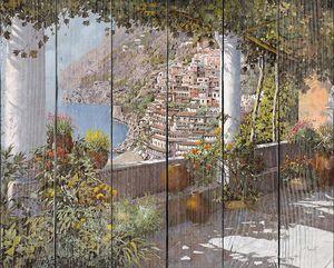 Терасса с видом на залив и городок