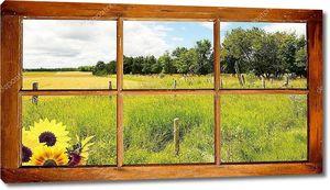 Летом страна вид через окно.