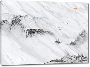 Верхушки гор на сером мраморе