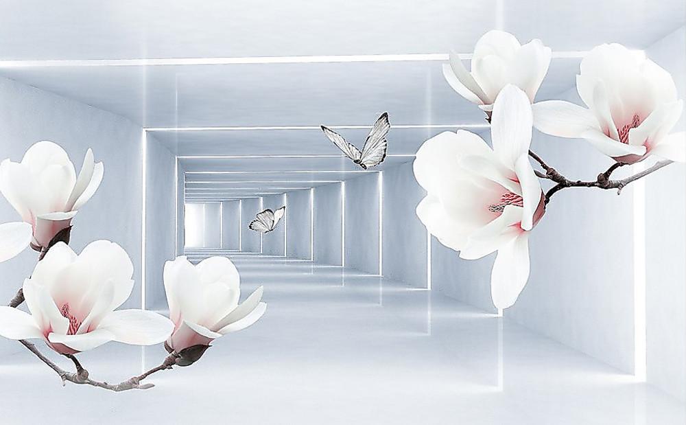 Фотообои «Орхидеи на фоне тоннеля», купить в интернет-магазине «Первое Ателье»™