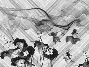 Черно белые лотосы на сером фоне