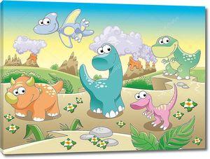 Забавный мультфильм с динозаврами