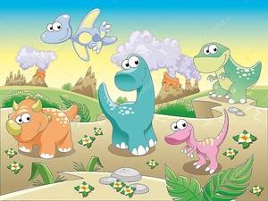Семья мультяшных динозавров