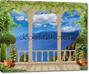Терраса с видом на  средиземное море, Франция