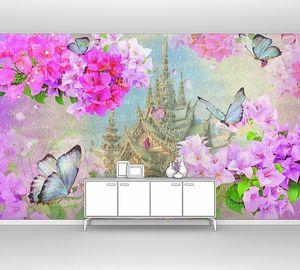 Яркие цветы на фоне замка