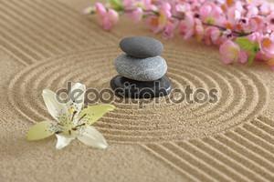 Сад Дзэн в песке с цветами